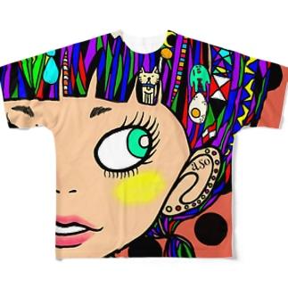裸眼ガール Full graphic T-shirts
