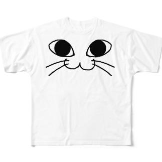 にゃんこふぇいす /猫 Full graphic T-shirts