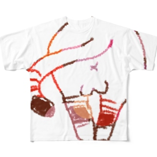 ねこケツ フルグラフィックTシャツ