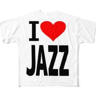 愛 ハート JAZZ ( I  Love JAZZ ) Full graphic T-shirts