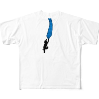 ぶらさがり猫なケース Full graphic T-shirts