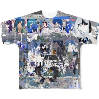 青い景色と余白 Full graphic T-shirts