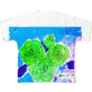 緑のバラ Full graphic T-shirts