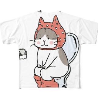 といれねこ 桃色 Full graphic T-shirts