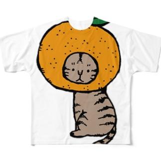 みかんかぶりねこ フルグラフィックTシャツ