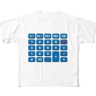 電卓blue Full graphic T-shirts