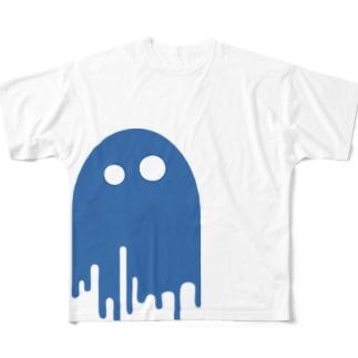 みているぞ あお フルグラフィックTシャツ