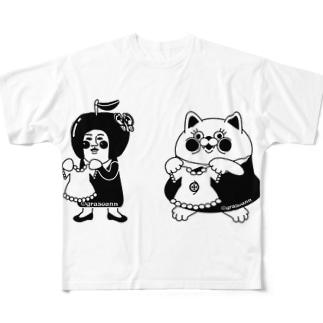 grasoann   ✖️yukosu_furugi  モノトーン  イラストおんりー フルグラフィックTシャツ