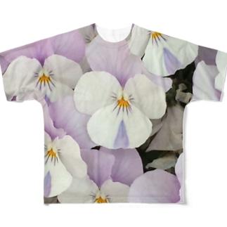 淡紫白パンジー フルグラフィックTシャツ