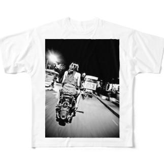 夜デート フルグラフィックTシャツ