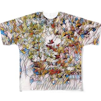 花タイル Full graphic T-shirts