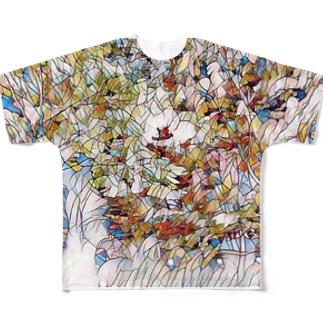 花タイル Full graphic T-shirts