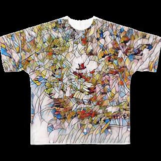 花タイル フルグラフィックTシャツ