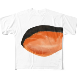 焼き鮭 前 Full graphic T-shirts