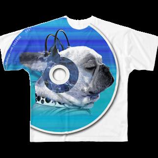 chicodeza by suzuriのfunnyfrench可愛いフレブルCDグッズ Full graphic T-shirts