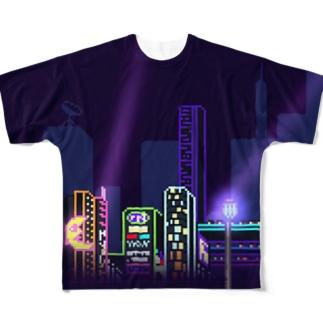 太陽人間ネオン街 フルグラフィックTシャツ