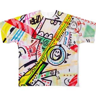 人力火の輪車&東山のぐるんぐるん山車 Full graphic T-shirts