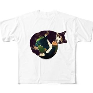 三毛猫の地球 Full graphic T-shirts