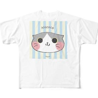 ねここ(すこてぃっしゅ) 猫 Full graphic T-shirts