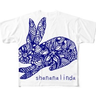 リンダうさぎ Full graphic T-shirts