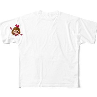 ハートリボンちゃん Full graphic T-shirts