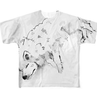 寝ている日本スピッツ Full graphic T-shirts