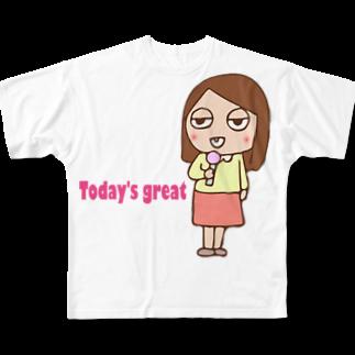 ガウ子ショップのお天気お姉さんありさ Full graphic T-shirts