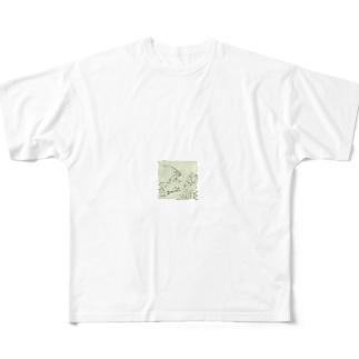 鳥獣人物戯画 Full graphic T-shirts