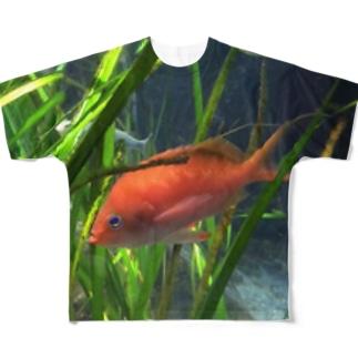 赤い魚 フルグラフィックTシャツ