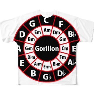 ゴリ論ロゴCiecle of Fifths Full graphic T-shirts