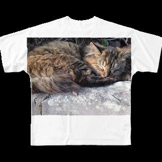 space a:kumoのまったりにゃんこさん Full graphic T-shirts