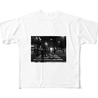 梅田は夜 フルグラフィックTシャツ