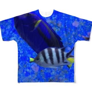 モノトーンなお魚 フルグラフィックTシャツ