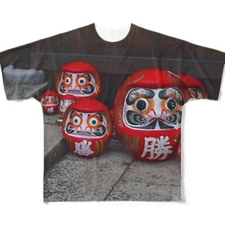 勝ち達磨 開運 Full graphic T-shirts