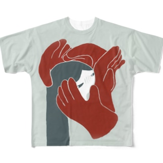 手袋にまとわりつかれる Full graphic T-shirts