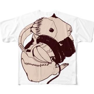 ヘッドフォンモルモットセピア フルグラフィックTシャツ