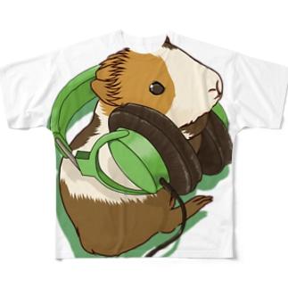 ヘッドフォンモルモットグリーン フルグラフィックTシャツ