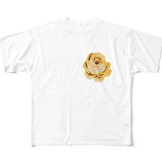 薔薇好きなおばちゃんより。金運アップの黄色い薔薇です! Full graphic T-shirts