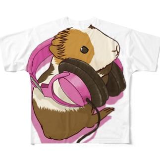 ヘッドフォンモルモット ピンク フルグラフィックTシャツ