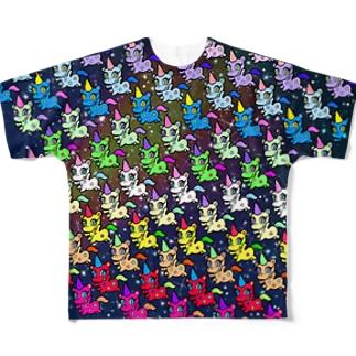 甘獣ユニん子 ギャラクシー Full graphic T-shirts