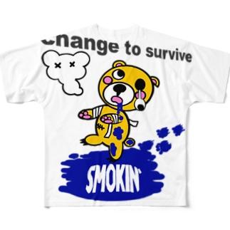 モクモックマゾンビ 黄 Full graphic T-shirts