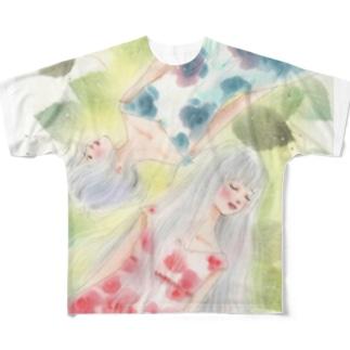 赤い薔薇と青い薔薇 フルグラフィックTシャツ