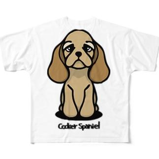 アメリカン・コッカ―・スパニエル。 フルグラフィックTシャツ