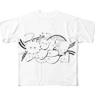 いろいろな形行進1 フルグラフィックTシャツ
