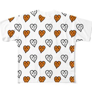 ハートくんがいっぱい! Full graphic T-shirts
