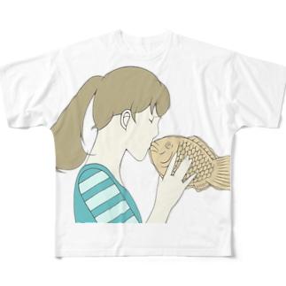 だいすきすぎて食べちゃいタイ Full graphic T-shirts