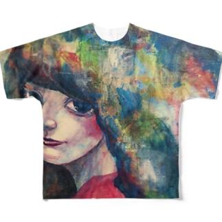 青い子 フルグラフィックTシャツ