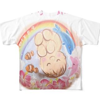 赤ちゃんとイルカと虹 フルグラフィックTシャツ