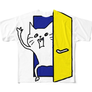 ネコです。ドアからネコです。Version フルグラフィックTシャツ