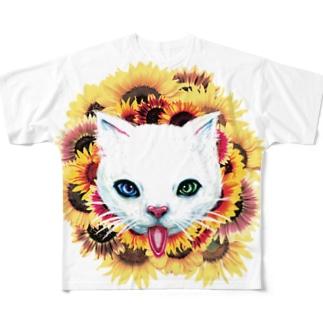 白猫と向日葵 フルグラフィックTシャツ